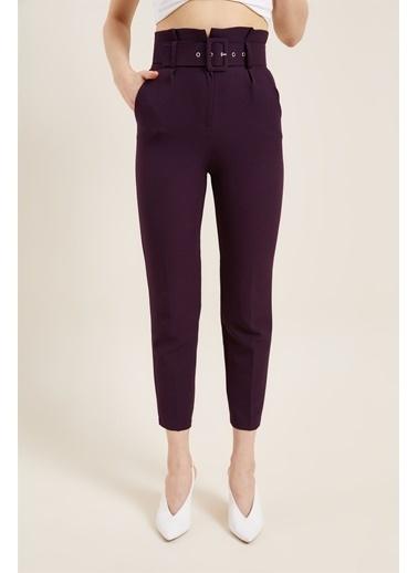 Z Giyim Kadın  Mavi  Kemerli Yüksek Bel Kumaş Pantolon Mor